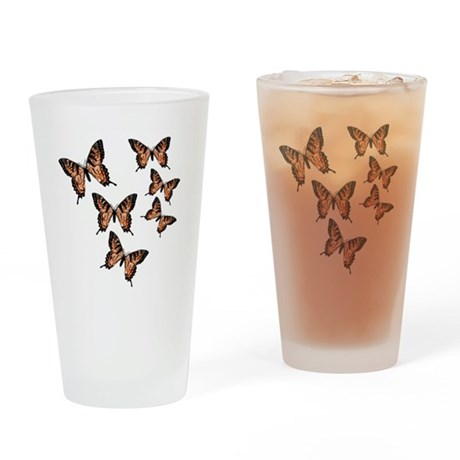 Orange Butterflies Drinking Glass