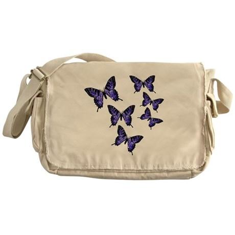 Purple Butterflies Messenger Bag