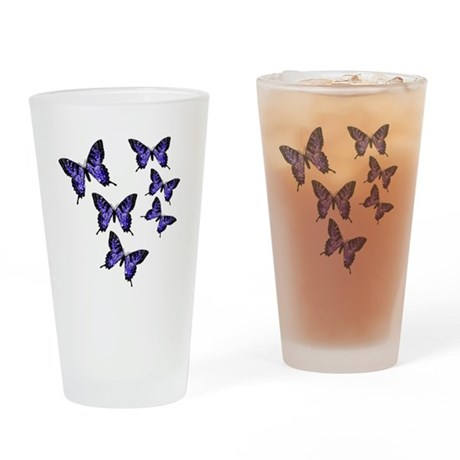 Purple Butterflies Drinking Glass