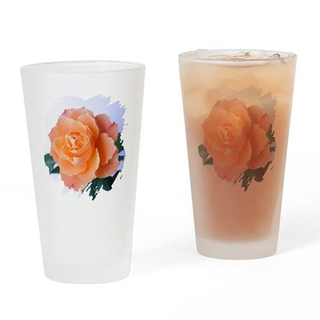 Orange Rose Drinking Glass