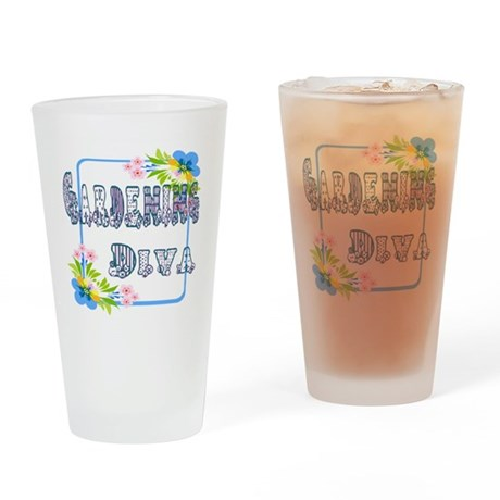 Gardening Diva Drinking Glass
