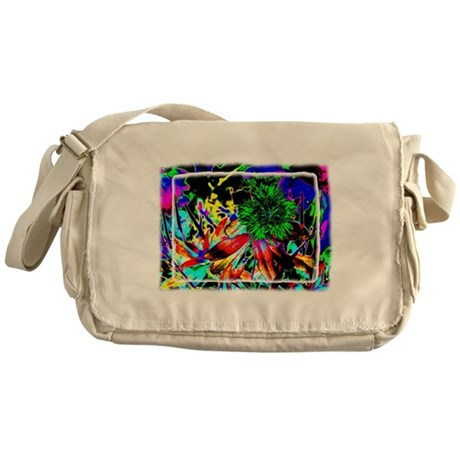 Green Flower Messenger Bag