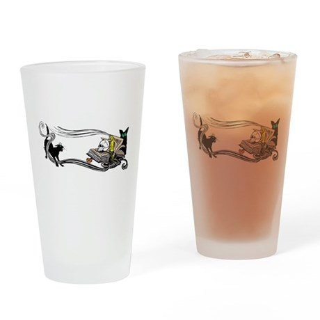 Spooky Black Cat and Skull Drinking Glass