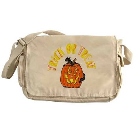Jack o Lantern Cat Messenger Bag