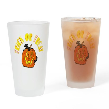 Jack o Lantern Cat Drinking Glass