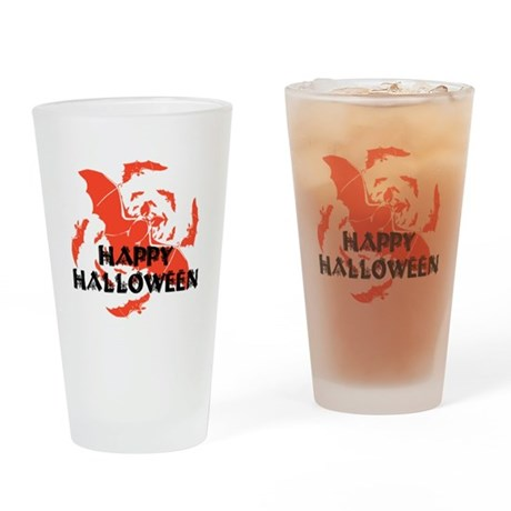 Happy Halloween Bats Drinking Glass