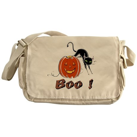 Halloween Pumpkin and Cat Messenger Bag