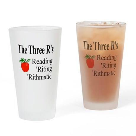 The Three R's Drinking Glass