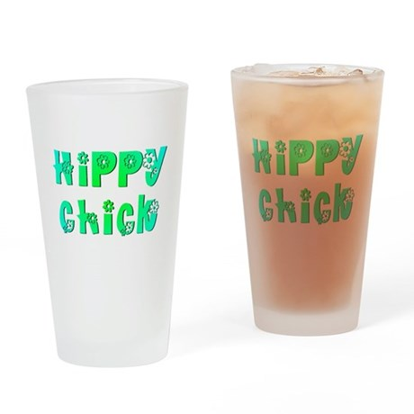 Hippy Chick Drinking Glass