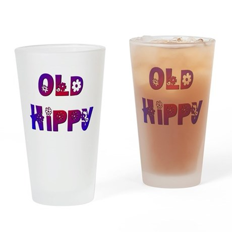 Old Hippy Drinking Glass