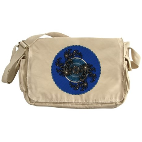 Fractal Kaleidoscope Blue Messenger Bag