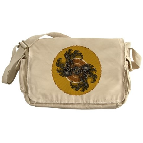 Fractal Kaleidoscope Gold Messenger Bag