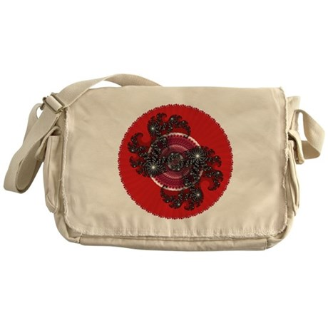 Fractal Kaleidoscope Red 2 Messenger Bag