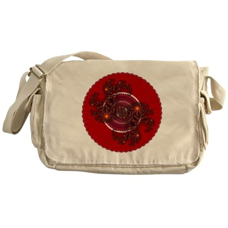Fractal Kaleidoscope Red Messenger Bag
