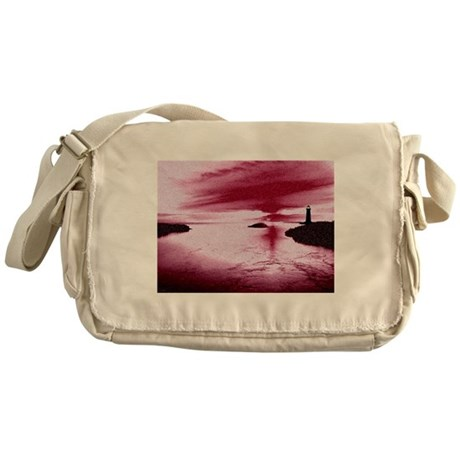 Lighthouse Sunset Messenger Bag