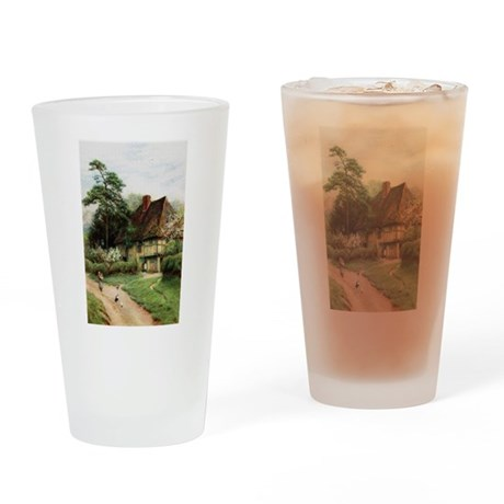 English Country Cottage Drinking Glass