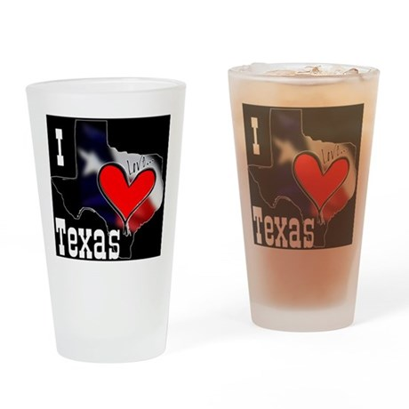 I Love Texas Drinking Glass