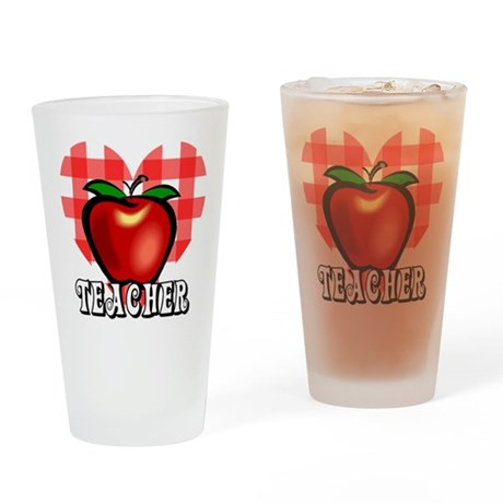 Teacher Checkered Heart Apple Drinking Glass