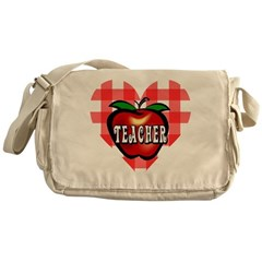 Teacher Checkered Heart Apple Messenger Bag