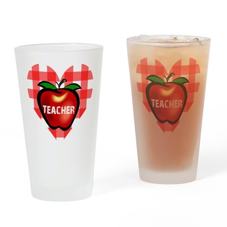 Teacher Heart Apple Drinking Glass