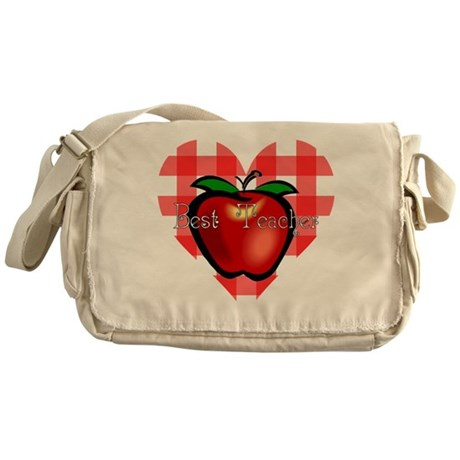 Best Teacher Checkered Heart Messenger Bag