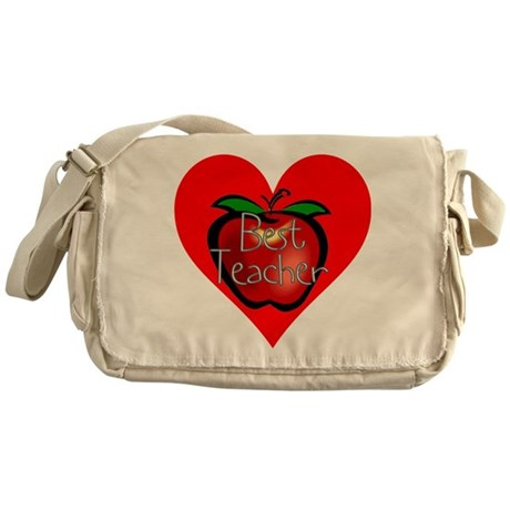 Best Teacher Apple Heart Messenger Bag