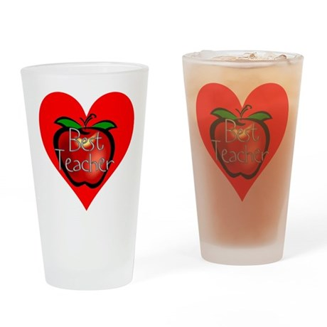 Best Teacher Apple Heart Drinking Glass