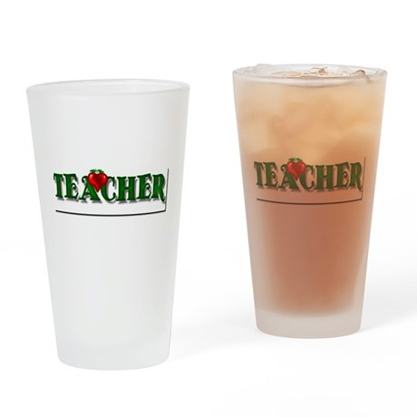 Teacher Apple Drinking Glass