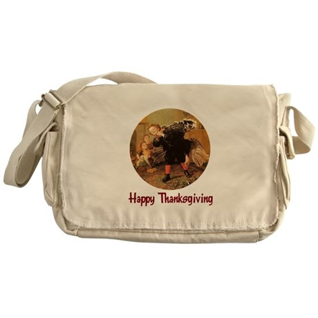 Boy and Thanksgiving Turkey Messenger Bag