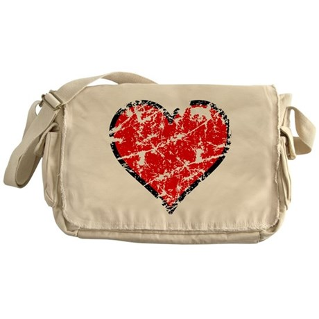 Red Grunge Heart Messenger Bag