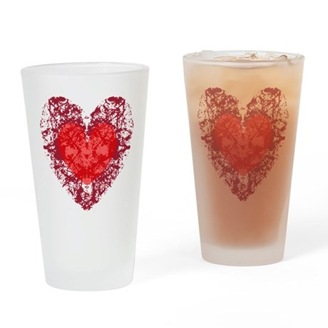 Red Grunge Heart Drinking Glass