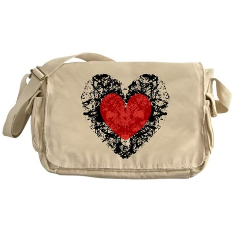 Pretty Grunge Heart Messenger Bag