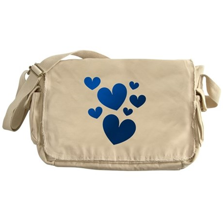 Blue Valentine Hearts Messenger Bag