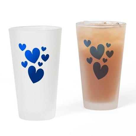 Blue Valentine Hearts Drinking Glass