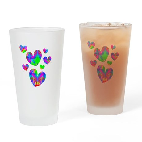 Kaleidoscope Hearts Drinking Glass