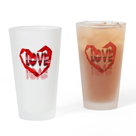 Abstract Love Heart Drinking Glass