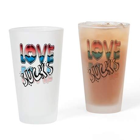Love Sucks Drinking Glass