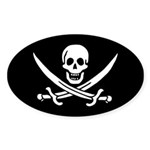 Calico Jack Rackham Jolly Rog Sticker (Oval 50 pk)