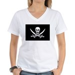 Calico Jack Rackham Jolly Rog Women's V-Neck T-Shi