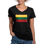 Lithuania Women's V-Neck Dark T-Shirt
