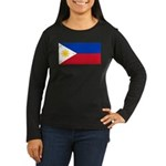 Philippines Women's Long Sleeve Dark T-Shirt
