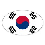South Korea Sticker (Oval 50 pk)