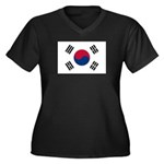 South Korea Women's Plus Size V-Neck Dark T-Shirt