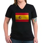 Spain Women's V-Neck Dark T-Shirt