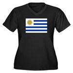 Uruguay Women's Plus Size V-Neck Dark T-Shirt