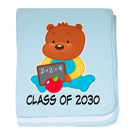 Cute Scholar Bear Class of 2030 baby blanket