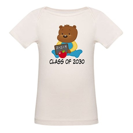 Cute Scholar Bear Class of 2030 Organic Baby T-Shi