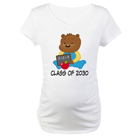 Cute Scholar Bear Class of 2030 Maternity T-Shirt