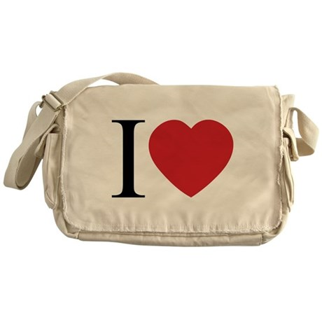 I LOVE (Heart) Canvas Messenger Bag
