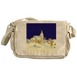 Cute Christmas Church scene Messenger Bag